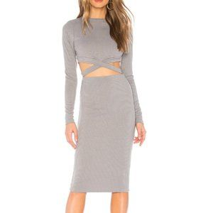 by the way. Christa Cut Out Midi Dress Gray